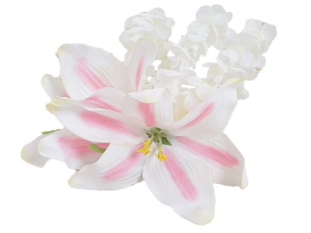 "Pink Lily with Pikake Hair Clip 7""x 6"""