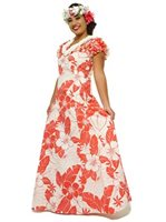 [2009C] Two Palms Lanai Coral Cotton Frill Puff Sleeve Long Dress