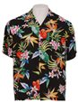 Two Palms Passion Paradise Black Rayon Men's Hawaiian Shirt