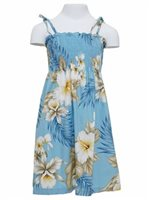Anuenue Hibiscus Trend Blue Cotton Girls Hawaiian Summer Dress