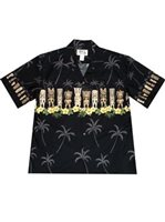 KY'S Hawaiian Tiki Black Cotton Men's Hawaiian Shirt