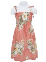Anuenue Hibiscus Trend Coral Cotton Girls Hawaiian Summer Dress