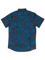 Molokai Surf Hibiscus Navy Cotton Men's Hawaiian Shirt