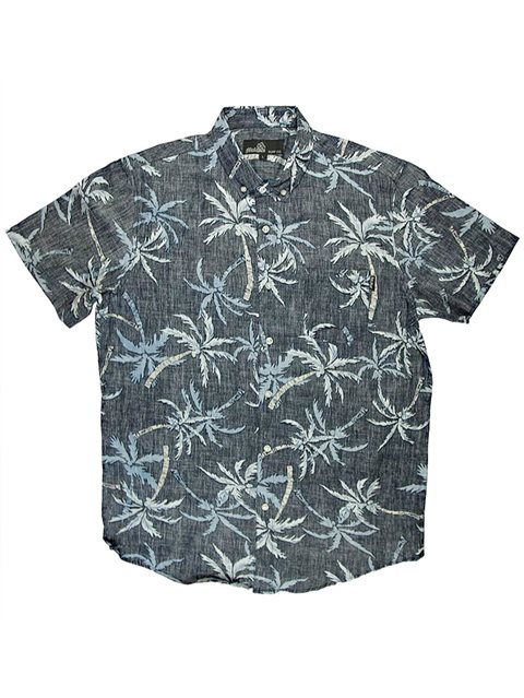 b4ab5d32 Molokai Surf Palm Trees Navy Cotton Men's Hawaiian Shirt | AlohaOutlet