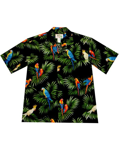 b2020b39 KY'S Parrot on Leaf Black Cotton Men's Hawaiian Shirt | AlohaOutlet