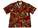 KY'S Parrot on Leaf Red Cotton Men's Hawaiian Shirt