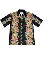KY'S Bird of Paradise Black Cotton Men's Hawaiian Shirt