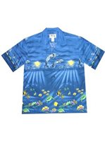 KY'S Under The Sea Paradise Navy Blue Cotton Men's Hawaiian Shirt