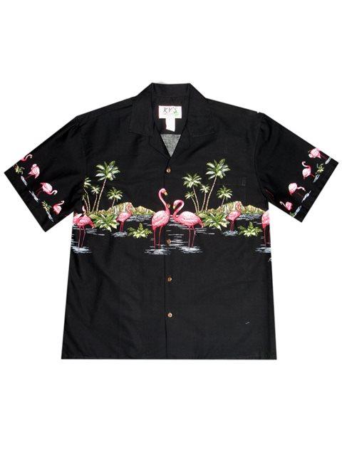 f7746a4a KY'S Flamingo Border Design Black Cotton Men's Hawaiian Shirt ...