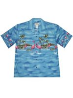 KY'S Flamingo Border Design Navy Blue Cotton Men's Hawaiian Shirt