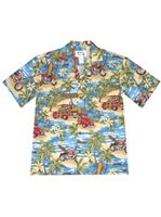 KY'S Ride On The Beach Navy Blue Cotton Men's Hawaiian Shirt