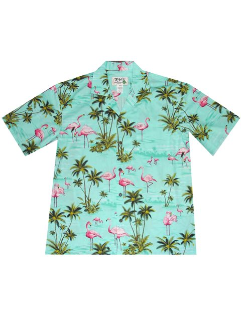 7c3f1221 KY'S All Over Flamingo Green Cotton Men's Hawaiian Shirt | AlohaOutlet