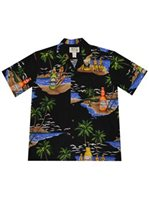 KY'S Island Beer Black Cotton Men's Hawaiian Shirt