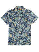 Tori Richard Crowdsource - Standard Fit Navy Cotton Lawn Men's Hawaiian Shirt