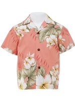 Anuenue Hibiscus Trend Coral Cotton Boys Hawaiian Shirt