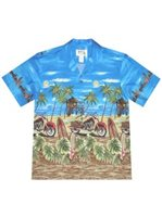 KY'S Island Motorcycle  Navy Blue Cotton Men's Hawaiian Shirt