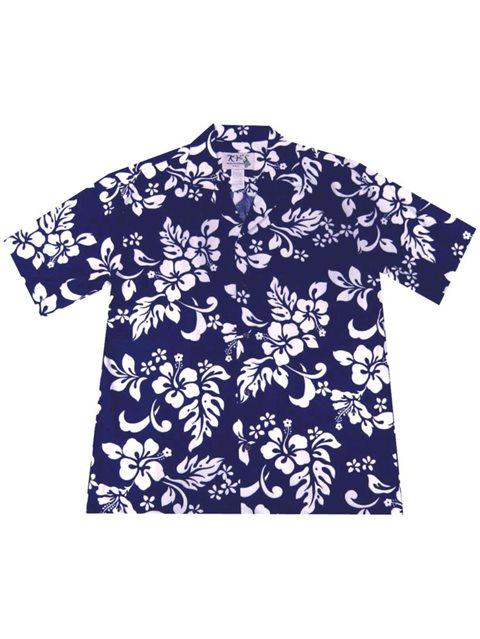 4ac940e5f7987 KY S Hibiscus Navy Blue Cotton Men s Hawaiian Shirt