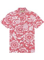 Kahala Duke's Pareo - Standard Fit Surfer Red Cotton Men's Hawaiian Shirt