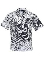 Lauae Tapa Black Poly Cotton Men's Hawaiian Shirt