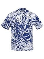 Lauae Tapa Navy Poly Cotton Men's Hawaiian Shirt