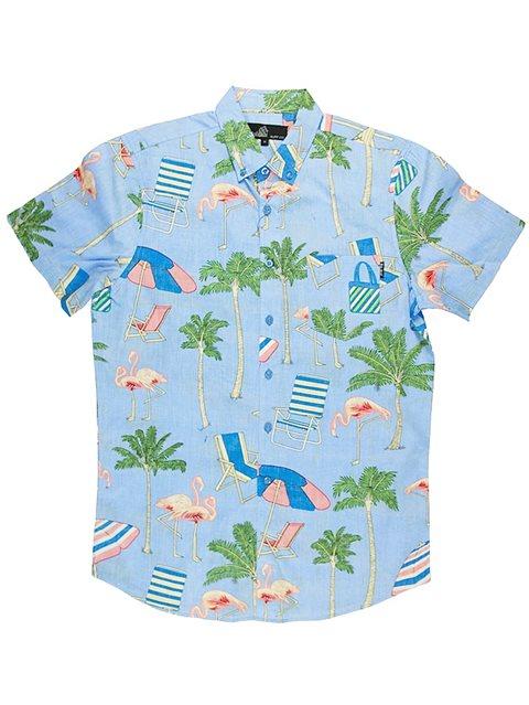 6520cd13 Molokai Surf Chairs and Flamingos Blue Cotton Men's Hawaiian Shirt ...