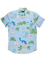 Molokai Surf Chairs and Flamingos Blue Cotton Men's Hawaiian Shirt