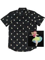Molokai Surf Hula Black Cotton Men's Hawaiian Shirt