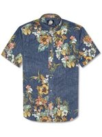 Reyn Spooner Pupus and Mai Tais Ink Cotton Polyester Men's Hawaiian Shirt Tailored Fit