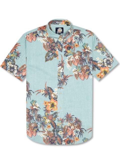 Pupus and Mai Tais Aqua Cotton Polyester Men's Hawaiian Shirt Tailored Fit