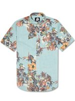 Reyn Spooner Pupus and Mai Tais Aqua Cotton Polyester Men's Hawaiian Shirt Tailored Fit