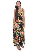 Two Palms Julia Black Rayon Hawaiian Summer Maxi Dress