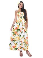 Two Palms Julia White Rayon Hawaiian Summer Maxi Dress