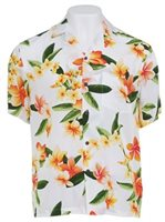 Two Palms Julia White Rayon Men's Hawaiian Shirt