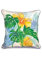 Lauren Roth Monstera Hibiscus Pillow Embroidered