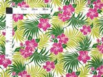Island Hibiscus & Palm Leaves Natural Poly Cotton LW-17-551