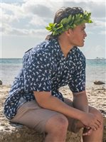 Paradise Found Magnum Bamboo Navy Rayon Men's Hawaiian Shirt