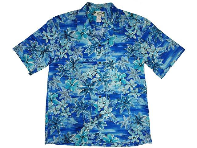 61842945 Two Palms Blue Hawaii Blue Cotton Men's Hawaiian Shirt | AlohaOutlet