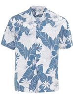 Two Palms Lanai Blue Cotton Men's Hawaiian Shirt