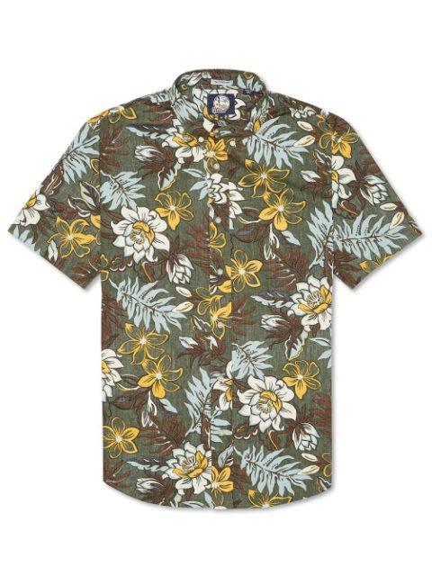 2a96de49547 Vintage Hawaiian Floral Army Cotton Men s Hawaiian Shirt Tailored Fit
