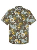 Reyn Spooner Vintage Hawaiian Floral Army Cotton Men's Hawaiian Shirt Tailored Fit