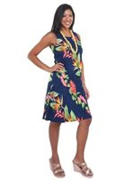 Hilo Hattie Bird of Paradise Panel Royal Rayon Hawaiian Short Bias Dress