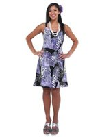 Hilo Hattie Mai'a Purple Rayon Hawaiian Short Bias Dress