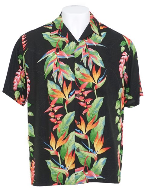 45f3e1077a Bird of Paradise Panel Black Rayon Men's Hawaiian Shirt