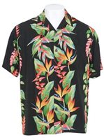 Hilo Hattie Bird of Paradise Panel Black Rayon Men's Hawaiian Shirt