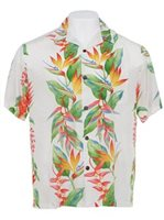 Hilo Hattie Bird of Paradise Panel Beige Rayon Men's Hawaiian Shirt