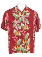 Hilo Hattie Bird of Paradise Panel Red Rayon Men's Hawaiian Shirt