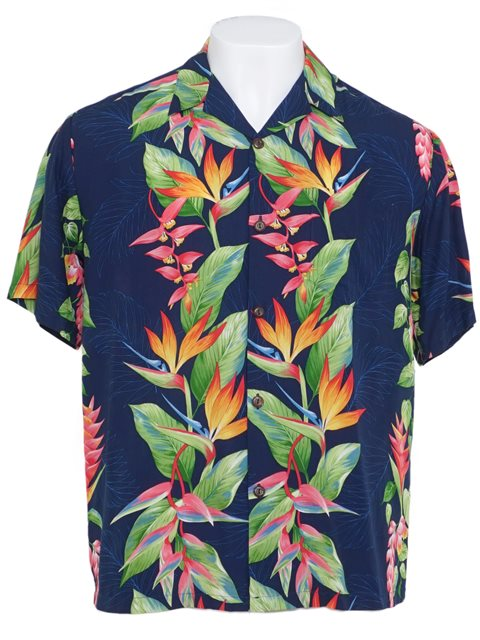 41086f6f1 Hilo Hattie Bird of Paradise Panel Royal Rayon Men's Hawaiian Shirt ...