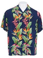 4716616d Hilo Hattie Bird of Paradise Panel Royal Rayon Men's Hawaiian Shirt