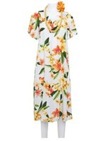 Two Palms Julia White Rayon Hawaiian Midi Muumuu Dress