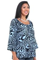 Hilo Hattie Blue Rayon Hawaiian Peasant Top 3/4 Sleeve